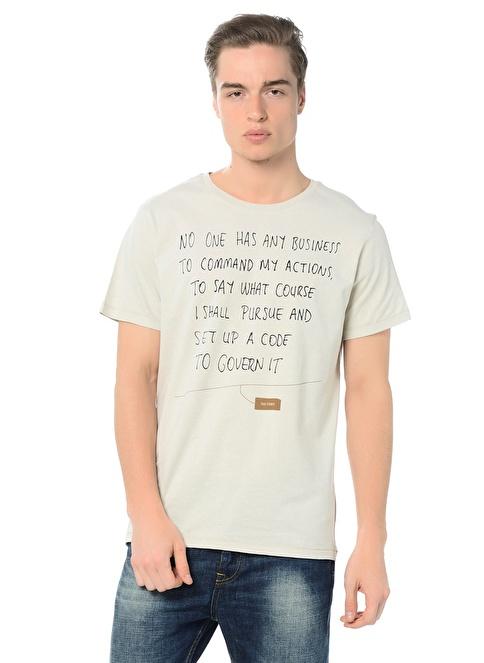 Kaft Baskılı Tişört Krem